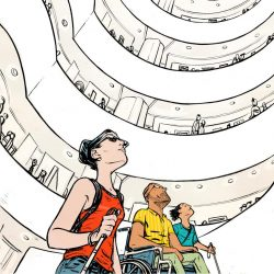 people with disabilities traveling during Covid in a cartoon setting