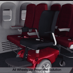 All Wheels Up image of wheelchair in an airplane seating area