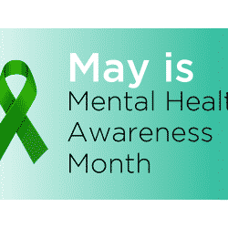 Poster that says May is Mental Health Awareness Month