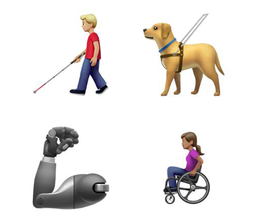 Apple's images of the disability emojis that will be available in the fall