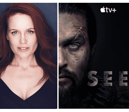 "Apple TV Movie poster with images of Marilee Talkington and Jason Momoa with the word ""SEE"" printed on it"