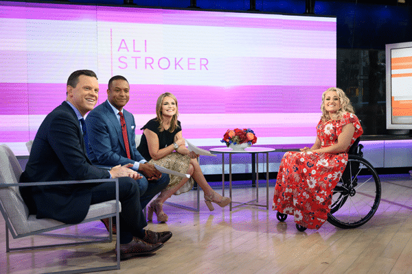 Willie Geist, Craig Melvin, Savannah Guthrie and Ali Stroker on the Today Show.