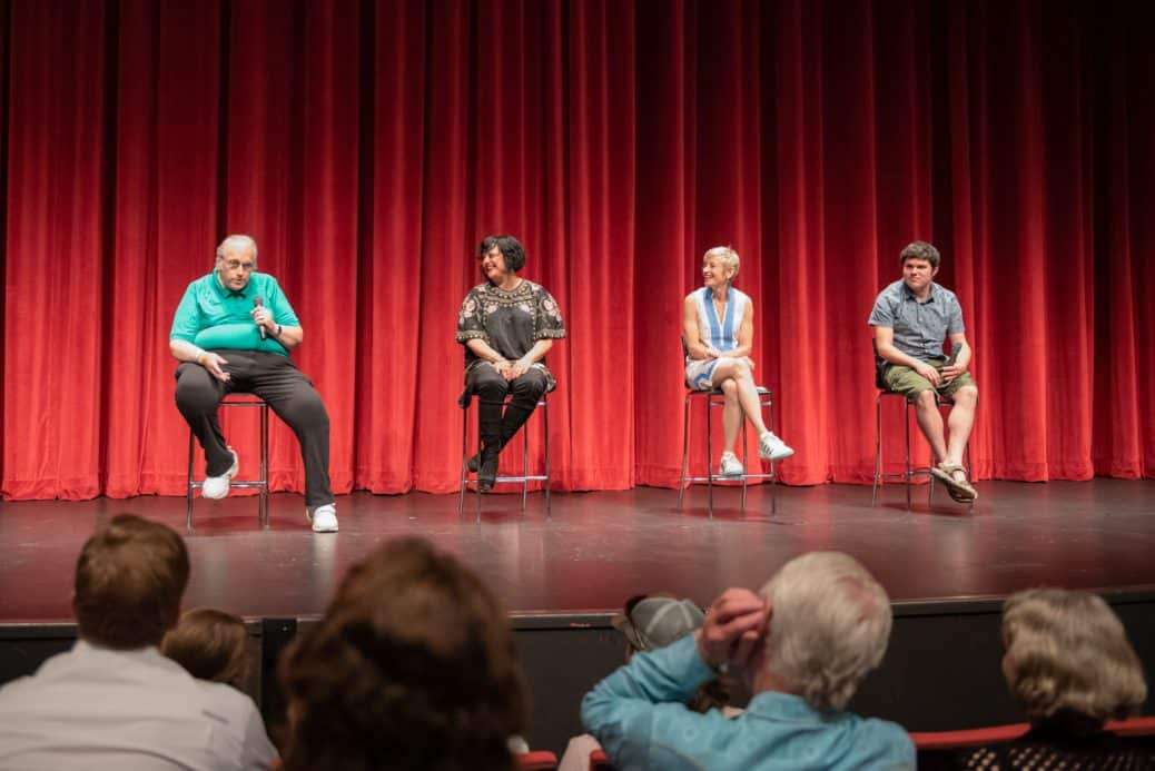 Hearts of Glass Premier with four people seated in chairs doing an onstage Q&A