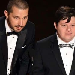 Shia LaBeouf and Zack Gottsagen speak onstage during the 92nd Annual Academy Awards at Dolby Theatre on February 09, 2020 in Hollywood, California. (Photo by Kevin Winter/Getty Images)