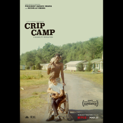 Movie Poster for the movie Crip Camp showing a teenager pushing another in a wheelchair down a dusty dirt road