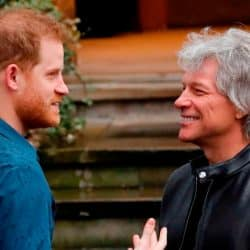 Britain's Prince Harry, Duke of Sussex (L) chats with US singer Jon Bon Jovi as he arrives at Abbey Road Studios in London on February 28, 2020, where they met with members of the Invictus Games Choir