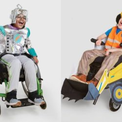 tow children pose in their disability-friendly costumes provided by Target