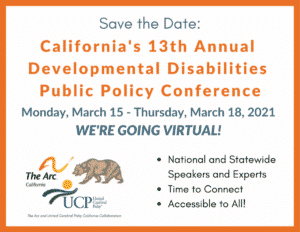 """Save the Date"" Flyer for the Developmental Disabilities Public Policy Conference"
