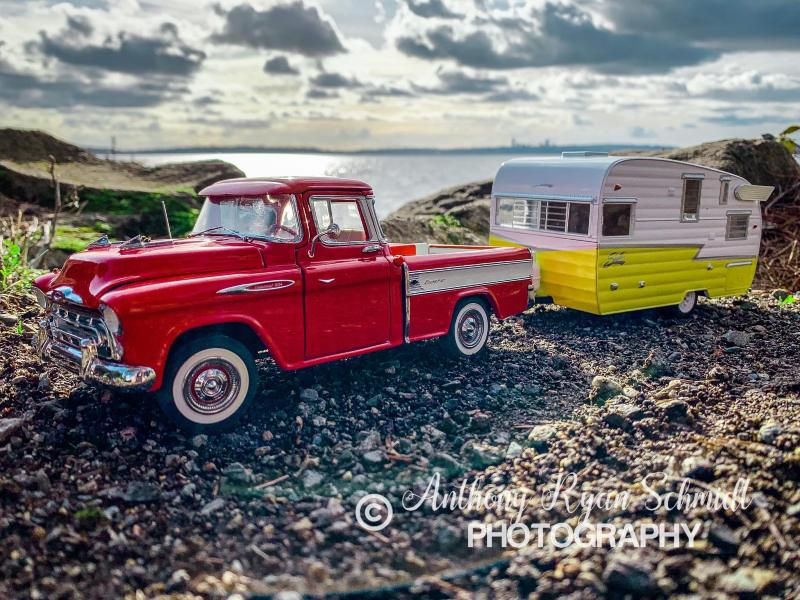 Classic truck and trailer picture with photo credit to Anthony Schmidt Photography