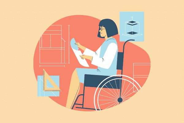 Disability, Graphic of a woman in a wheelchair reading