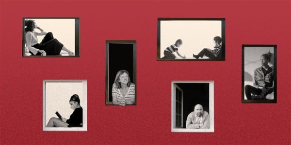 Graphic of people sitting by the windows of a red house