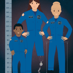 graphic of three astronautsl; standing to right of a large ruler
