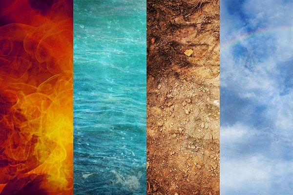 Fire,water,earth,and the sky to represent the elements