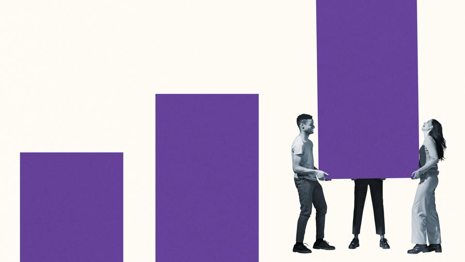 Three people carry a purple animated rectangle.