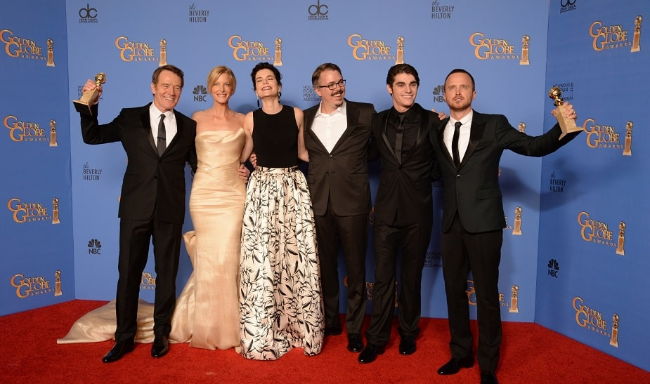 "RJ Mitte poses at the golden globes with the cast of "" Breaking Bad"""