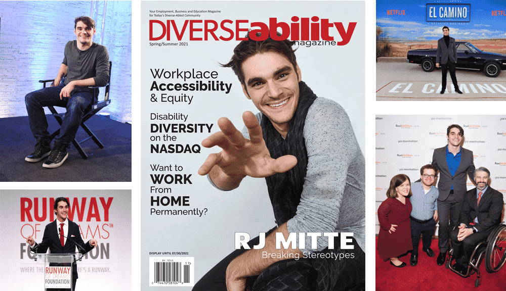 RJ Mitte collage with his cover image and several samll images of his work inclusing the cast from Breaking Bad