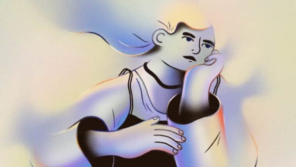 Animated art of an individual gazing off into the distance while resting their head on their hands. The image is blue and yellow.