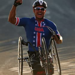 Oz Sanchez on his handcycle getting ready for the Paralympic games