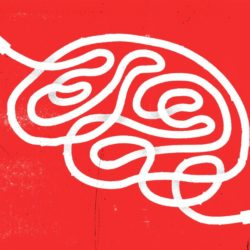 cable wire illustration shaped like a brain to symbol Teletherapy