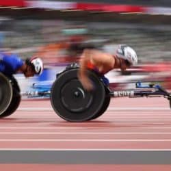 Already a legend in the marathon community, Daniel Romanchuk won the first Paralympic medal of his career Sunday night with a gold medal on the track.