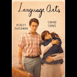 Language Arts movie poster showing a dad with a suitcase and a mom holding her young son in her arms