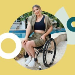Chelsie Hill seated on a wheel chair in front of a pool with yellow digital background surrounding her